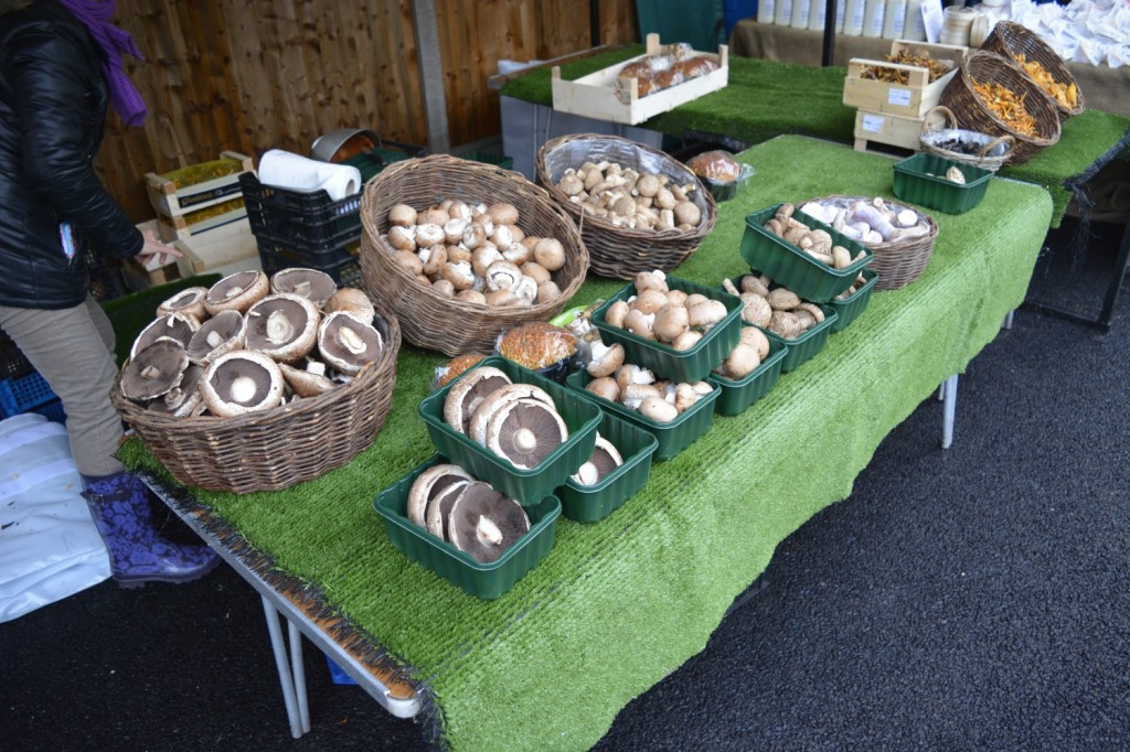 Baskets of locally grown mushrooms at The Sidings N21