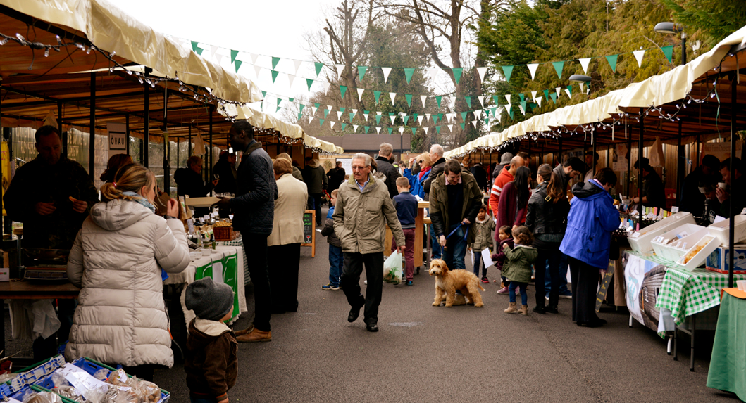 The Sidings N21 Sunday Farmers' Market in Winchmore Hill in full flow